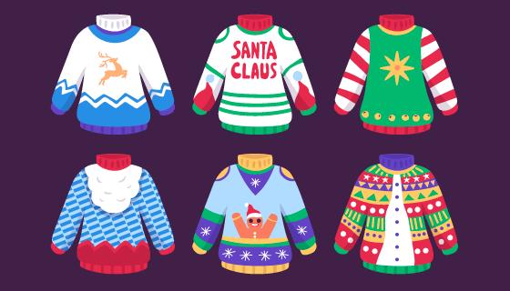 六件圣诞风格的毛衣矢量素材(AI/EPS)