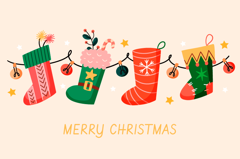 可爱的圣诞袜设计圣诞节背景矢量素材(AI/EPS/免扣PNG)