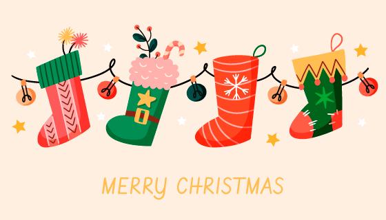 可爱的圣诞袜设计圣诞节背景矢量素材(AI/EPS/PNG)
