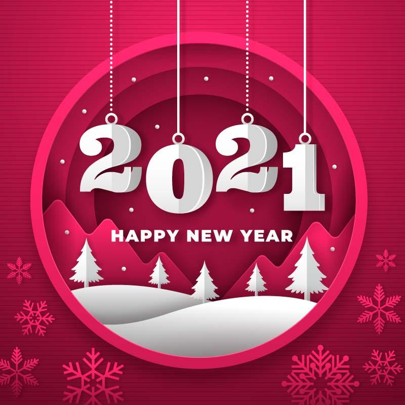 吊着的数字2021新年快乐背景矢量素材(AI/EPS)