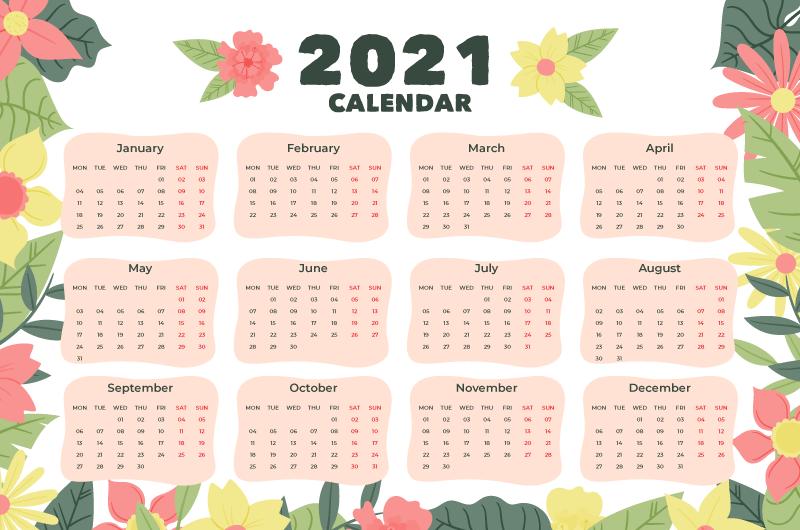 手绘花卉设计2021年日历矢量素材(AI/EPS)