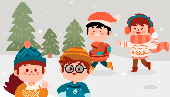 雪地里玩耍的孩子们矢量素材(AI/EPS)