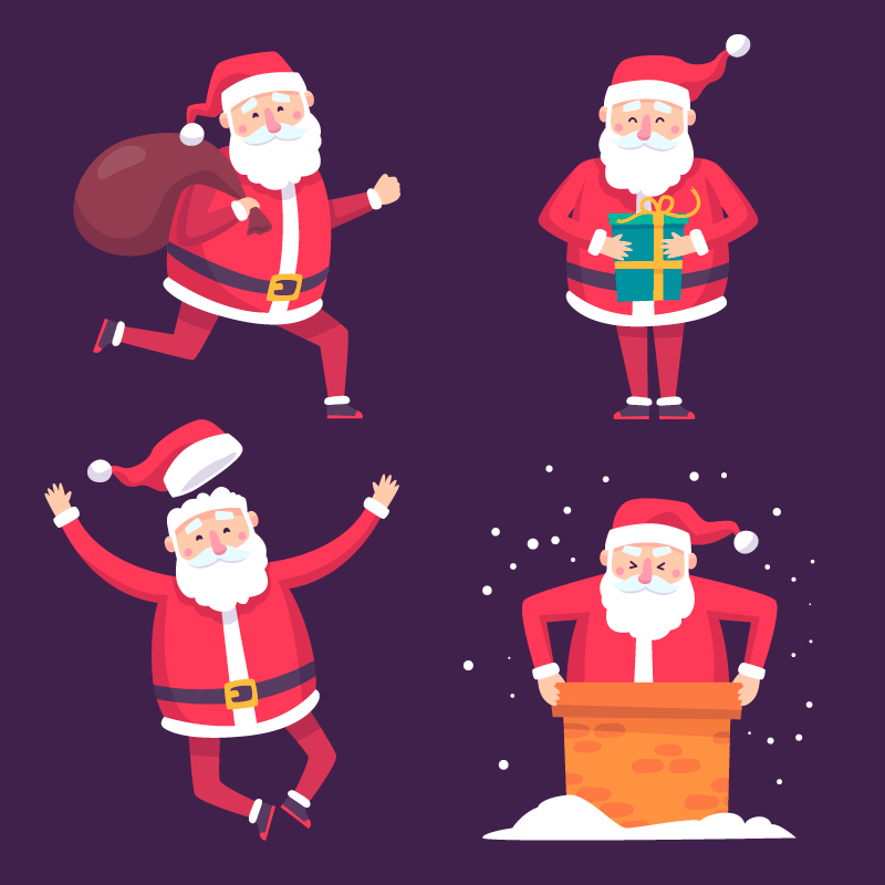 手绘风格可爱的圣诞老人矢量素材(AI/EPS/免扣PNG)