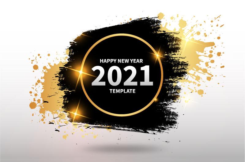 金色黑色笔触设计2021新年快乐背景矢量素材(EPS)