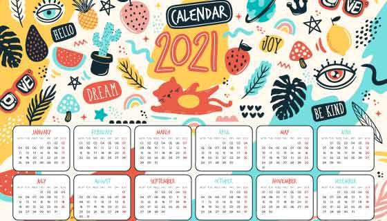 手绘可爱元素设计2021年日历矢量素材(AI/EPS)