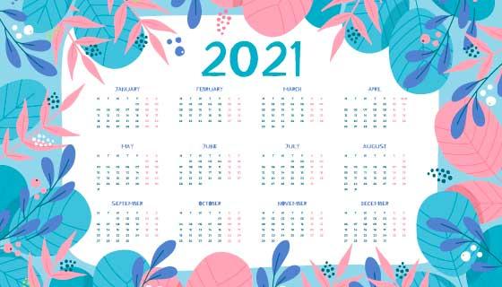 手绘多彩叶子设计2021年日历矢量素材(AI/EPS)