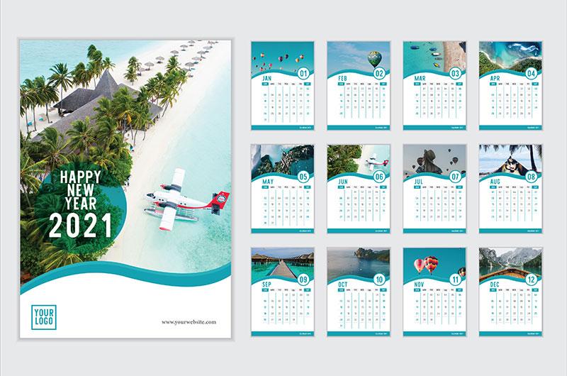 旅游风景设计2021年日历矢量素材(EPS)