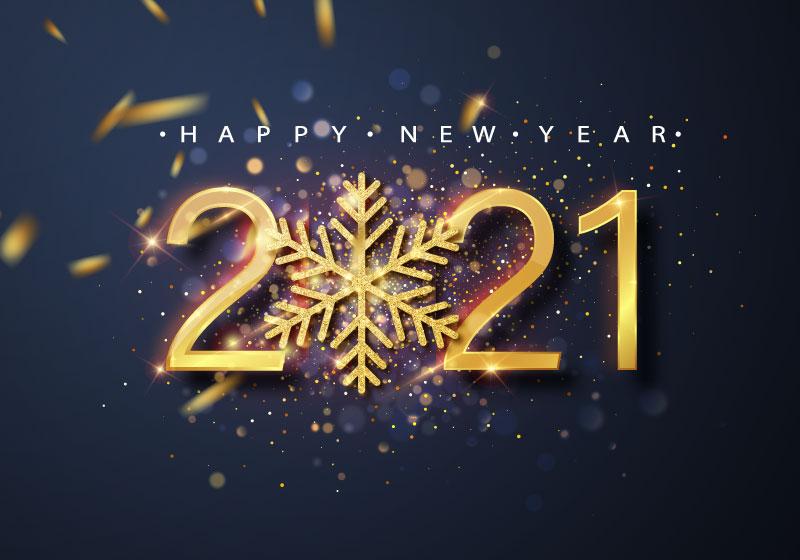 金色雪花和数字设计2021新年快乐矢量素材(EPS)