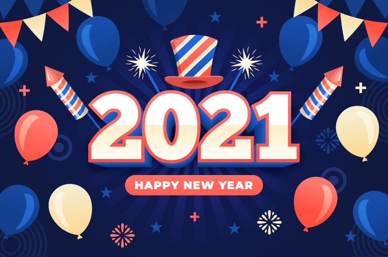 气球和彩带设计2021新年快乐矢量素材(AI/EPS)