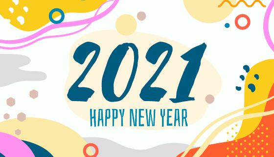 孟菲斯风格2021新年快乐背景矢量素材(AI/EPS)