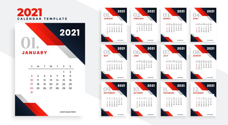 红色商务风格2021年日历矢量素材(EPS)