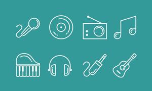 15个音乐类图标素材(AI)