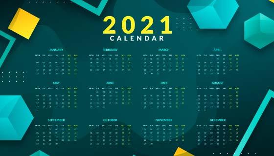 抽象几个设计2021年日历矢量素材(AI/EPS)