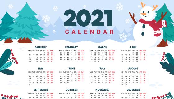 圣诞树圣诞雪人设计2021年日历矢量素材(AI/EPS)