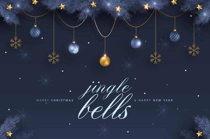 金色装饰圣诞快乐新年快乐贺卡矢量素材(EPS)