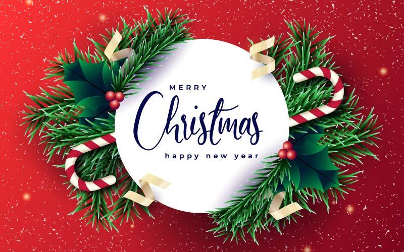 逼真的圣诞树枝设计圣诞节背景矢量素材(EPS)
