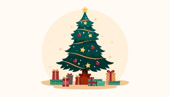 复古的圣诞树和圣诞礼物矢量素材(AI/EPS)