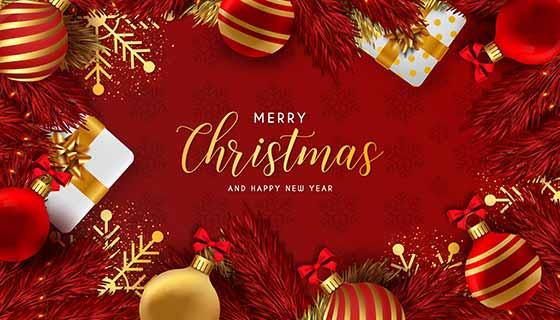 红色喜庆的圣诞节背景矢量素材(EPS)