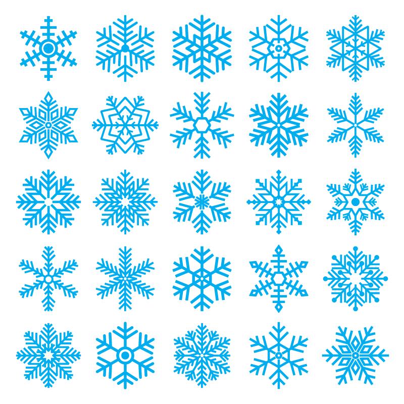 不同的雪花图案矢量素材(EPS/免扣PNG)