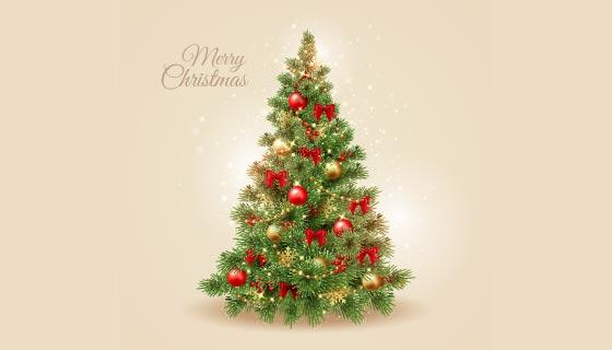 逼真漂亮的圣诞树矢量素材(AI/EPS)