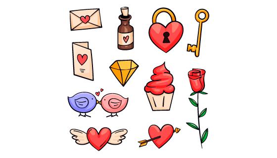 手绘风格情人节爱情元素矢量素材(AI/EPS/PNG)