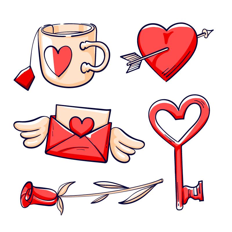 手绘风格情人节爱情元素矢量素材(AI/EPS/免扣PNG)