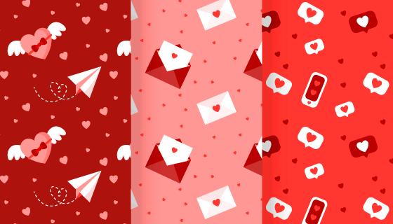 三幅爱情元素情人节无缝背景矢量素材(AI/EPS)