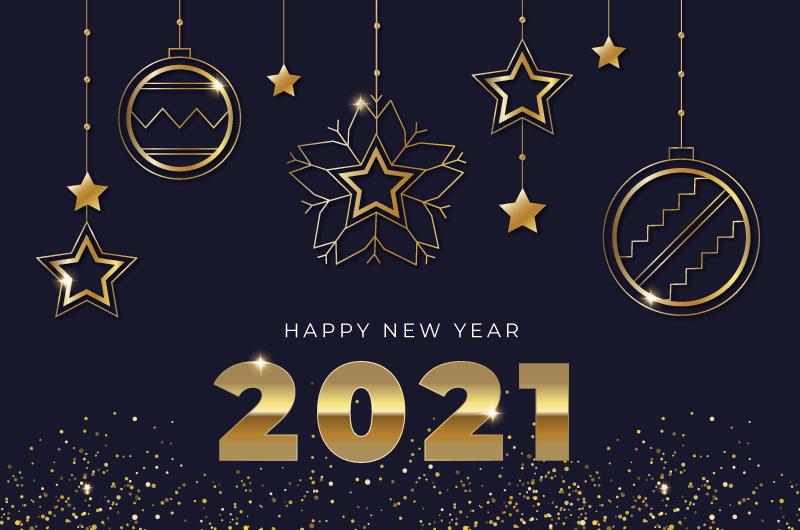 金色装饰设计2021新年快乐背景矢量素材(AI/EPS)