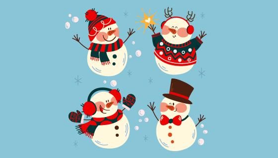 四个可爱的雪人矢量素材(AI/EPS/PNG)