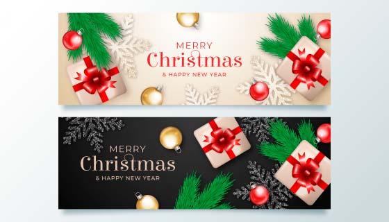 礼物和装饰品设计圣诞节banner矢量素材(AI/EPS)