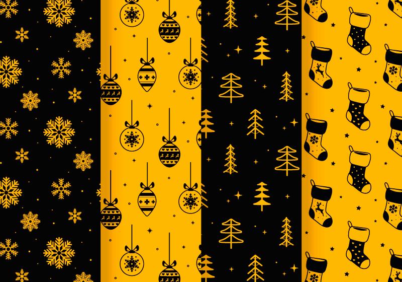 四张圣诞节无缝背景矢量素材(AI/EPS)