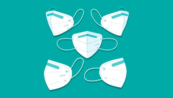 不通角度的KN95口罩矢量素材(AI/EPS)