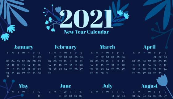 叶子设计2021年日历矢量素材(AI/EPS)