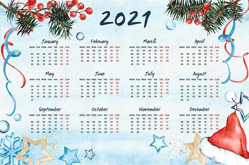树枝和装饰品设计2021年日历矢量素材(AI/EPS)