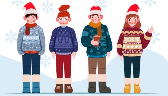 冬天里穿着毛衣的人们矢量素材(AI/EPS)