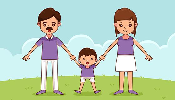 手绘幸福家庭矢量素材(EPS/AI)