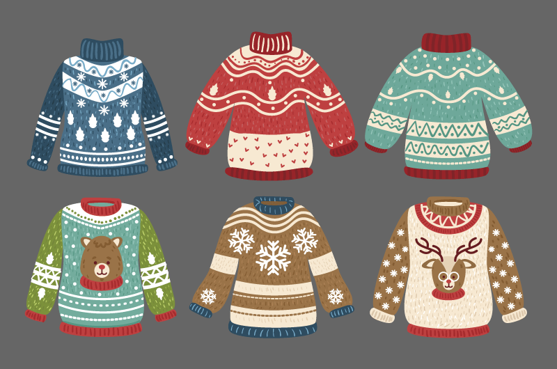 六件可爱的毛衣矢量素材(AI/EPS/免扣PNG)