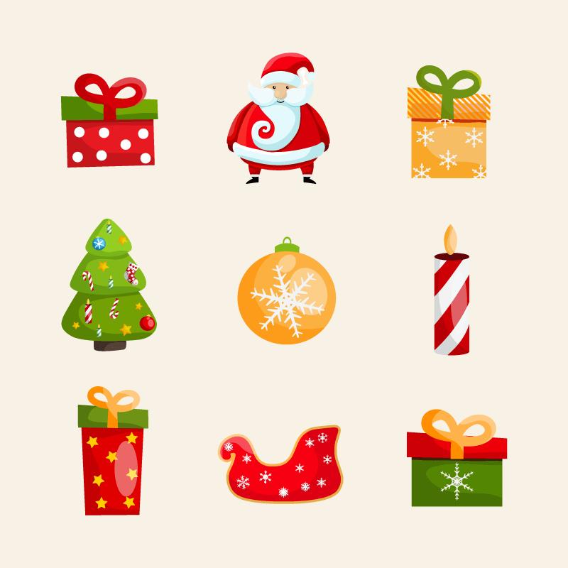 九个可爱的圣诞节图标矢量素材(EPS/免扣PNG)