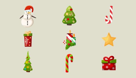 九个可爱的圣诞节图标矢量素材(EPS/PNG)