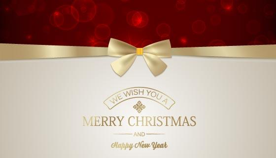 金丝带蝴蝶结设计圣诞贺卡矢量素材(EPS)
