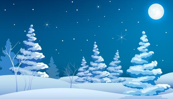 冬季夜晚景观矢量素材(EPS)