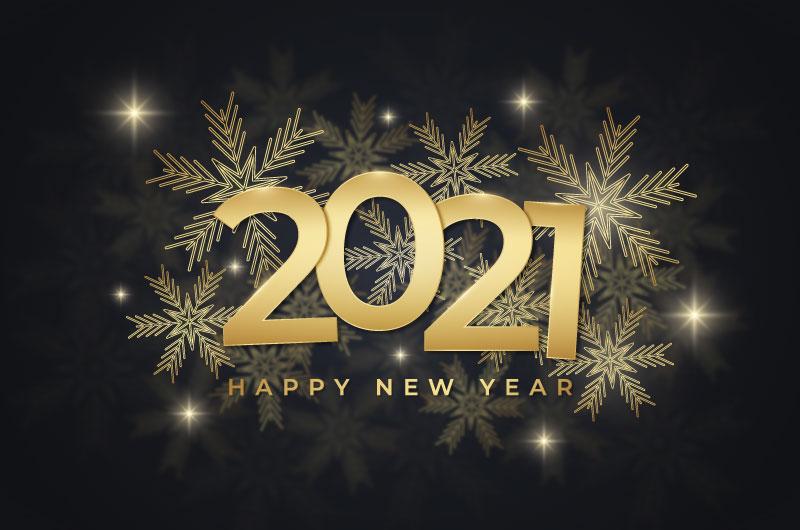 金色雪花设计2021新年快乐背景矢量素材(AI/EPS)