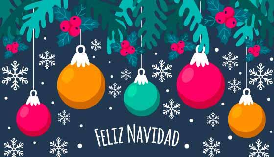 多彩圣诞球设计圣诞快乐背景矢量素材(AI/EPS)