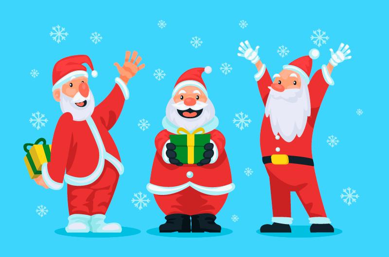 开心快乐的圣诞老人矢量素材(AI/EPS)
