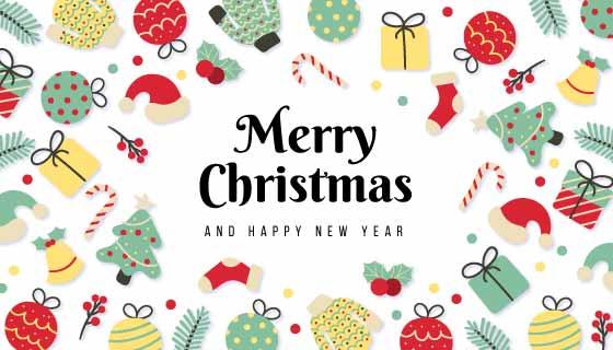各种圣诞元素图案组成的圣诞背景矢量素材(EPS)