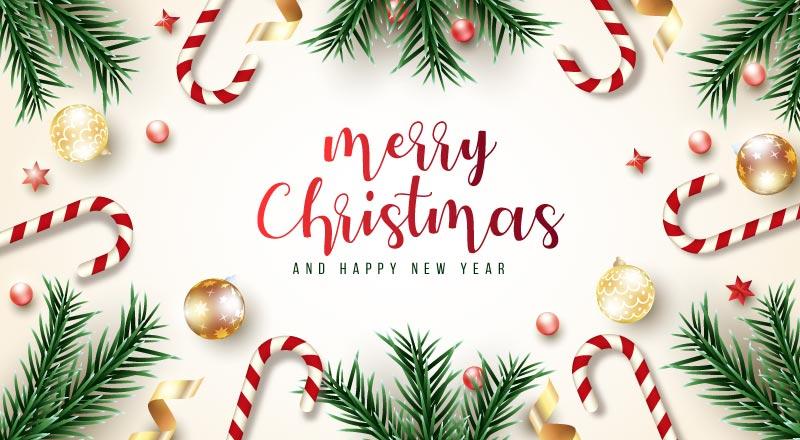 绿色树枝设计的圣诞节贺卡矢量素材(EPS)