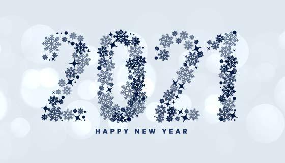 创意雪花数字设计2021新年快乐背景矢量素材(EPS)