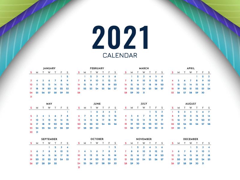 多彩简单的2021年日历矢量素材(EPS)