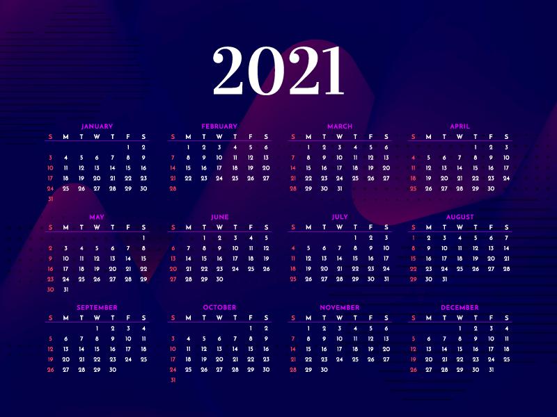现代时尚深色的2021年日历矢量素材(EPS)