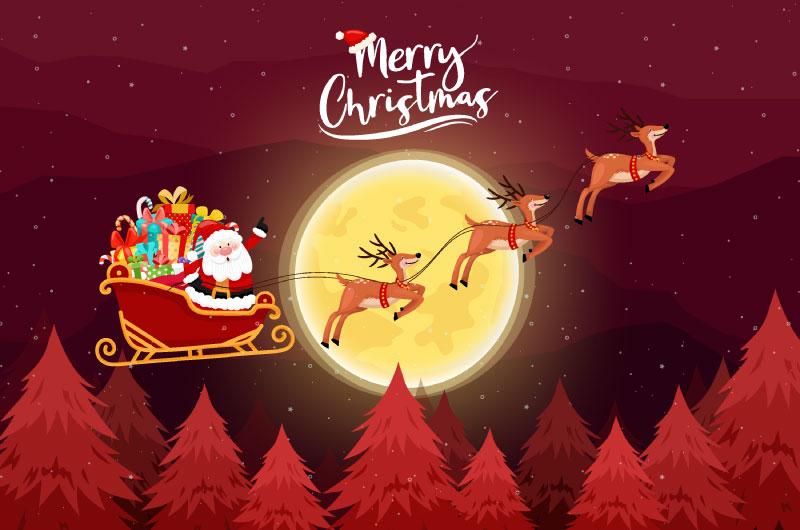 穿梭在夜空中的圣诞老人矢量素材(EPS)